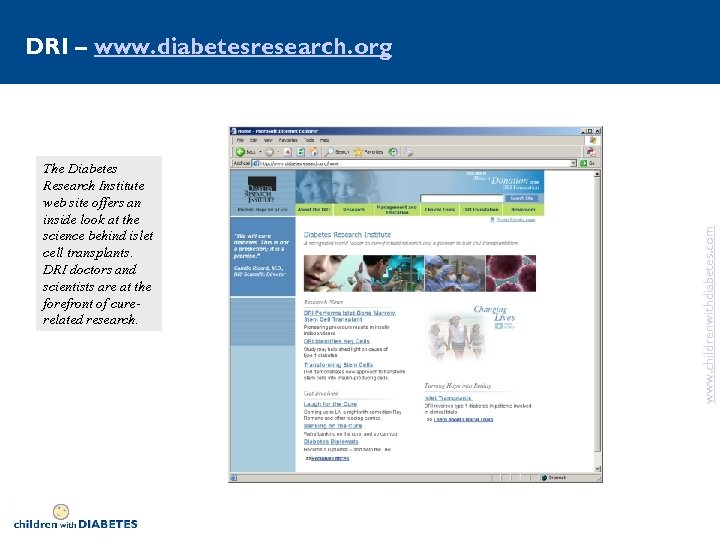 The Diabetes Research Institute web site offers an inside look at the science behind