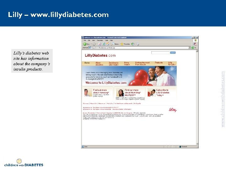 Lilly's diabetes web site has information about the company's insulin products. www. childrenwithdiabetes. com