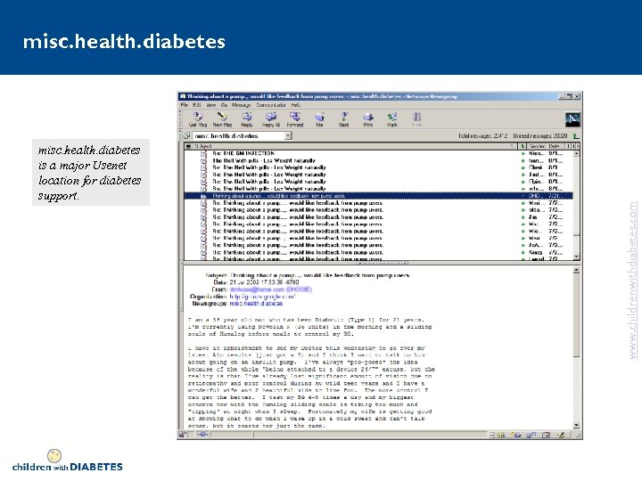 misc. health. diabetes is a major Usenet location for diabetes support. www. childrenwithdiabetes. com