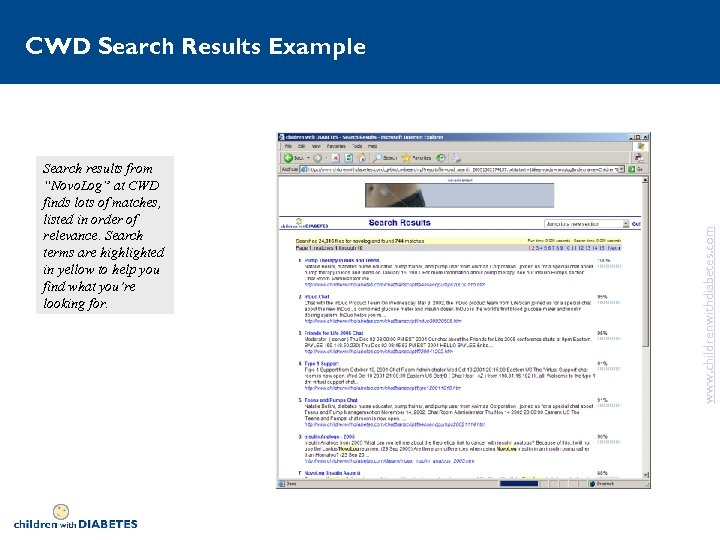 """Search results from """"Novo. Log"""" at CWD finds lots of matches, listed in order"""