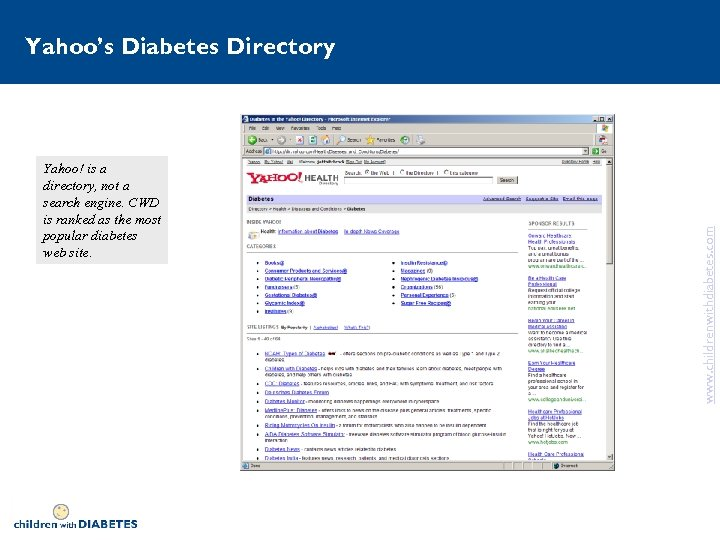 Yahoo! is a directory, not a search engine. CWD is ranked as the most