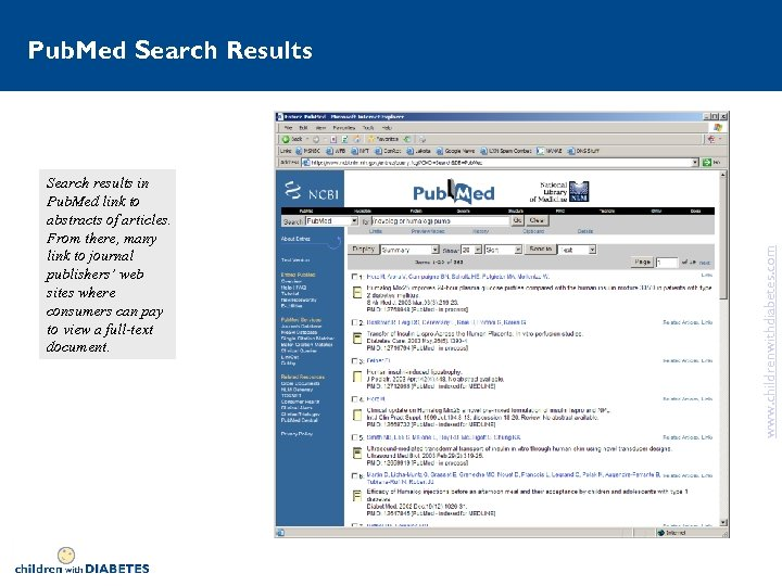 Search results in Pub. Med link to abstracts of articles. From there, many link
