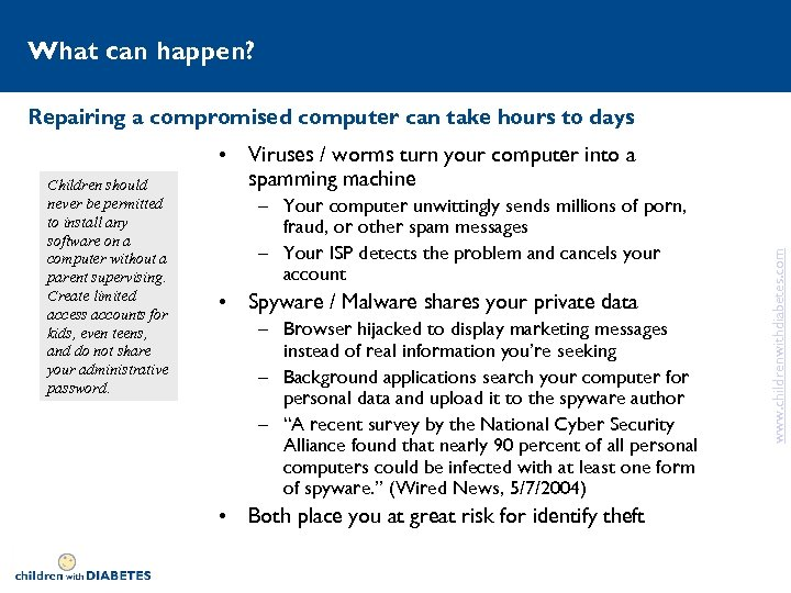 What can happen? Repairing a compromised computer can take hours to days – Your