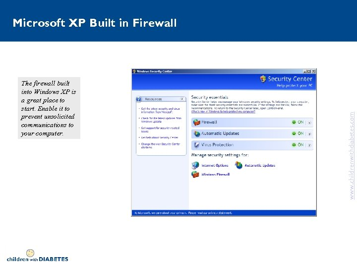 The firewall built into Windows XP is a great place to start. Enable it