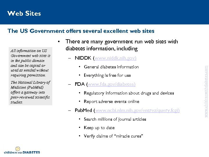 Web Sites The US Government offers several excellent web sites The National Library of