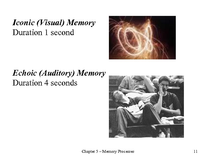 Iconic (Visual) Memory Duration 1 second Echoic (Auditory) Memory Duration 4 seconds Chapter 5