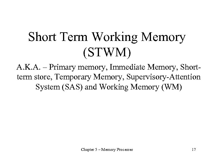 Short Term Working Memory (STWM) A. K. A. – Primary memory, Immediate Memory, Shortterm