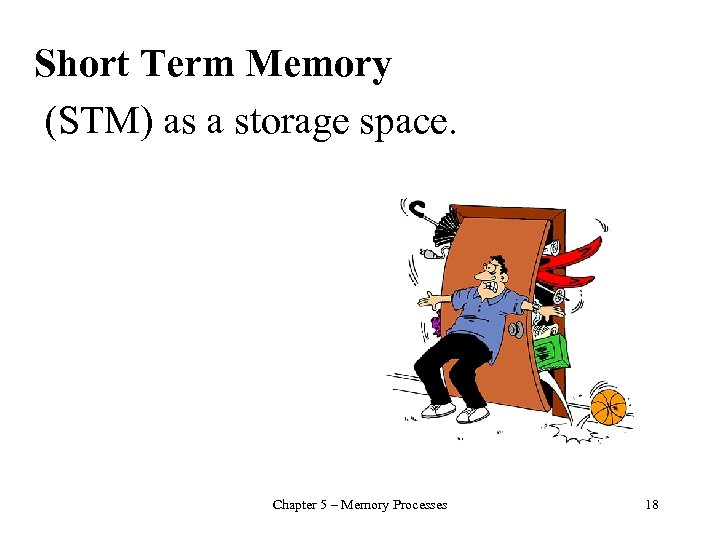 Short Term Memory (STM) as a storage space. Chapter 5 – Memory Processes 18