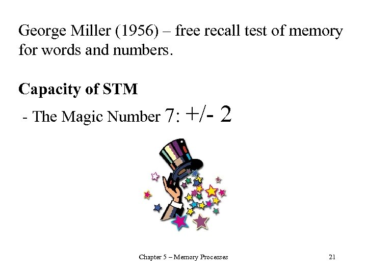 George Miller (1956) – free recall test of memory for words and numbers. Capacity
