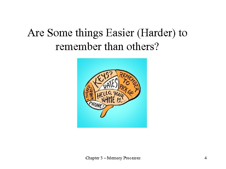 Are Some things Easier (Harder) to remember than others? Chapter 5 – Memory Processes