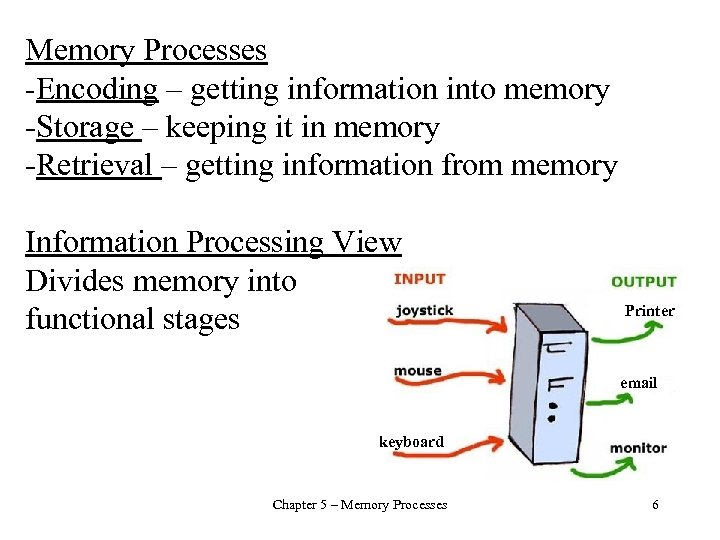 Memory Processes -Encoding – getting information into memory -Storage – keeping it in memory