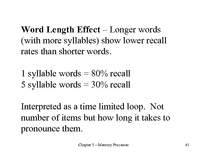 Word Length Effect – Longer words (with more syllables) show lower recall rates than
