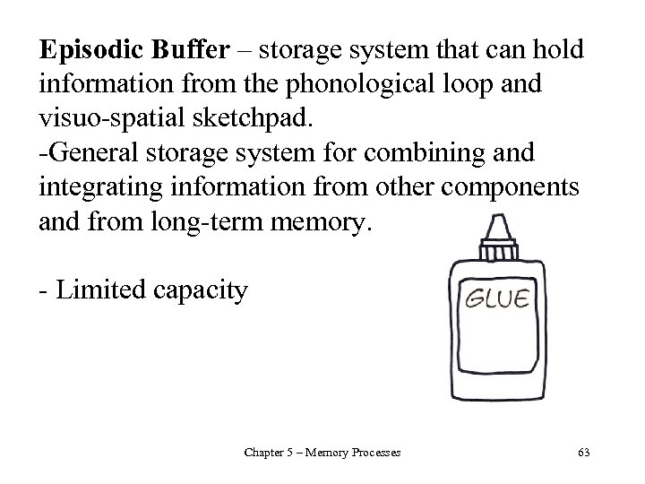 Episodic Buffer – storage system that can hold information from the phonological loop and