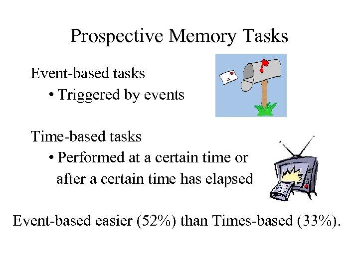 Prospective Memory Tasks Event-based tasks • Triggered by events Time-based tasks • Performed at