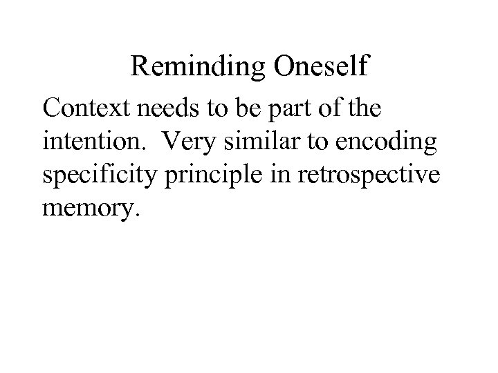 Reminding Oneself Context needs to be part of the intention. Very similar to encoding