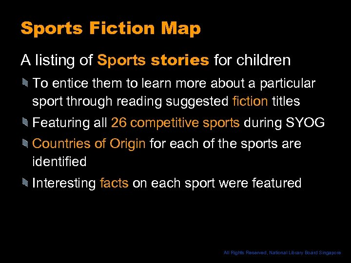 Sports Fiction Map A listing of Sports stories for children To entice them to
