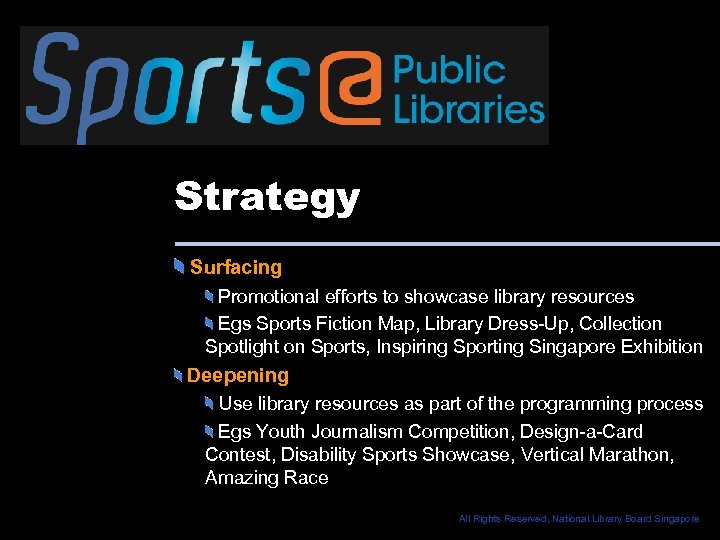 Strategy Surfacing Promotional efforts to showcase library resources Egs Sports Fiction Map, Library Dress-Up,