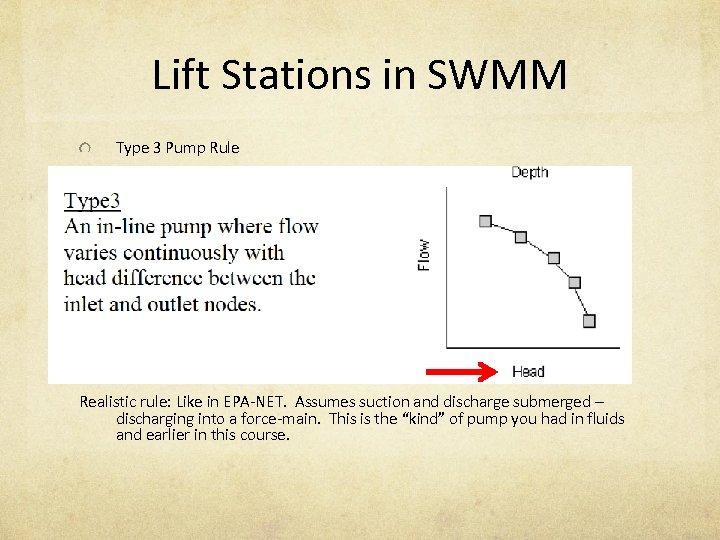 Lift Stations in SWMM Type 3 Pump Rule Realistic rule: Like in EPA-NET. Assumes