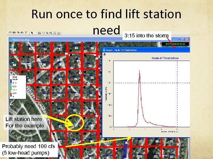 Run once to find lift station need 3: 15 into the storm Lift station