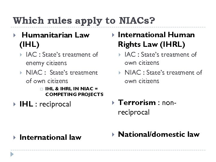 Which rules apply to NIACs? Humanitarian Law (IHL) IAC : State's treatment of enemy