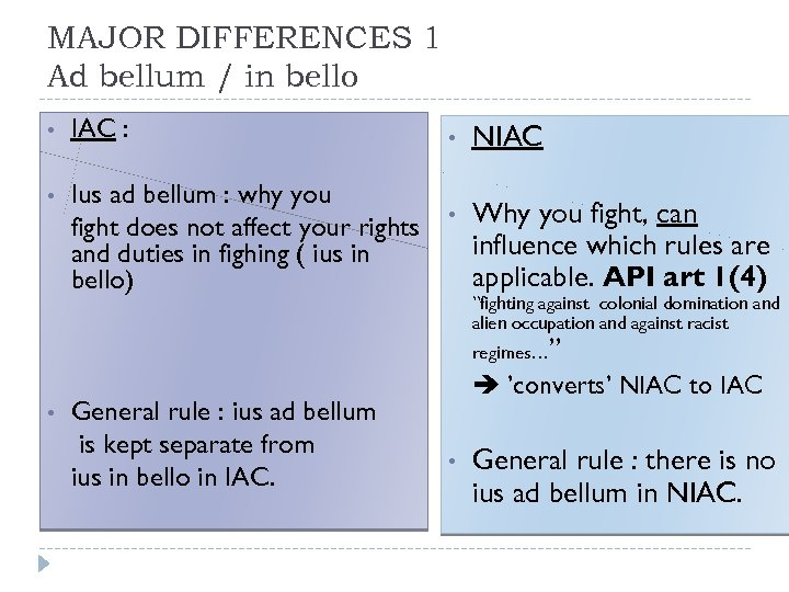 MAJOR DIFFERENCES 1 Ad bellum / in bello • IAC : • Ius ad