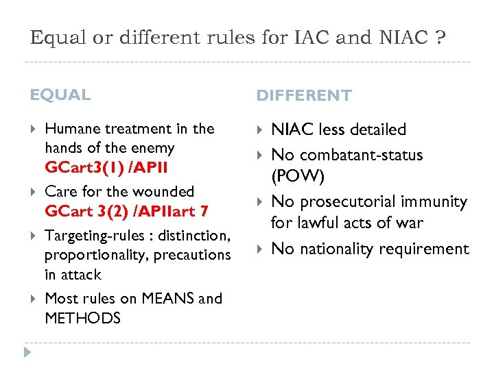 Equal or different rules for IAC and NIAC ? EQUAL Humane treatment in the