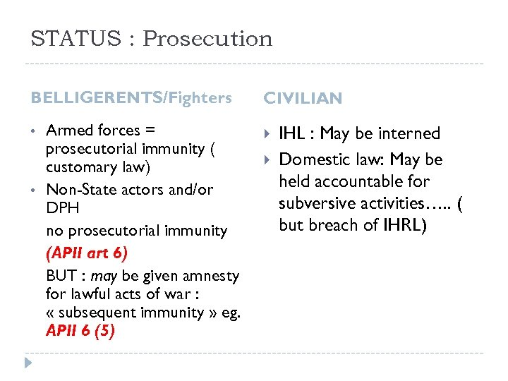 STATUS : Prosecution BELLIGERENTS/Fighters • • Armed forces = prosecutorial immunity ( customary law)