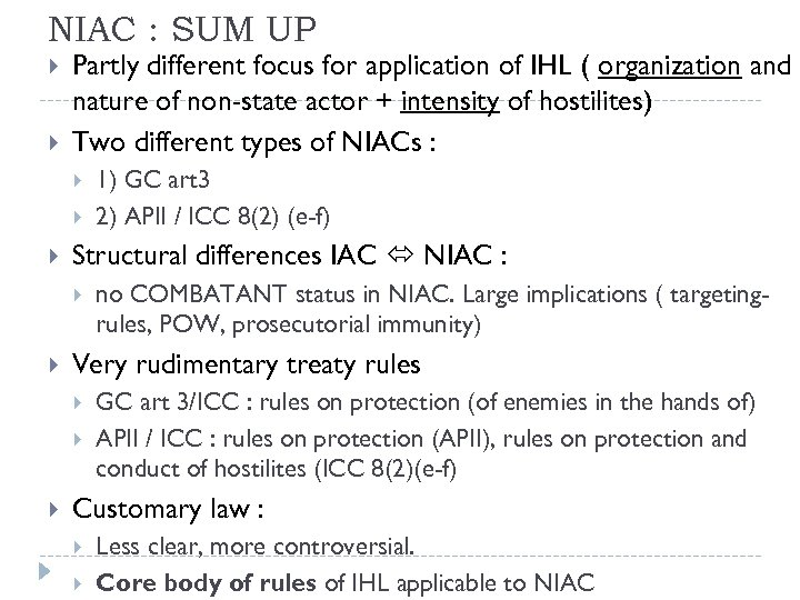 NIAC : SUM UP Partly different focus for application of IHL ( organization and