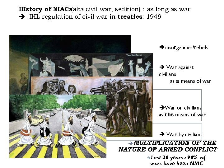 History of NIACs (aka civil war, sedition) : as long as war IHL regulation