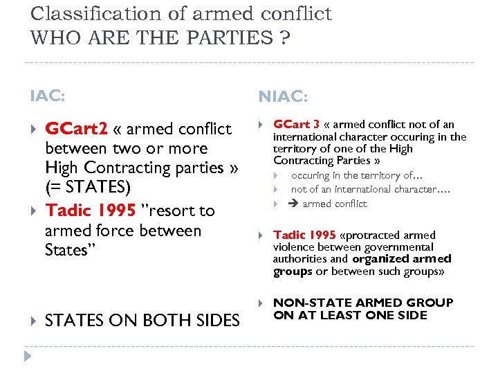 Classification of armed conflict WHO ARE THE PARTIES ? IAC: GCart 2 « armed