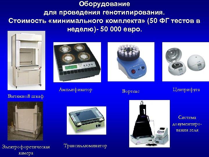 Оборудование для проведения генотипирования. Стоимость «минимального комплекта» (50 ФГ тестов в неделю)- 50 000