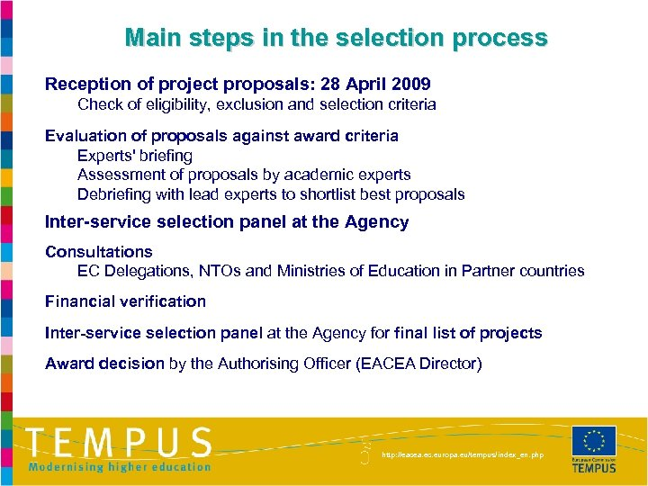 Main steps in the selection process Reception of project proposals: 28 April 2009 Check