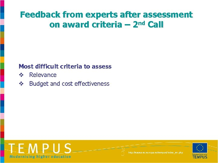 Feedback from experts after assessment on award criteria – 2 nd Call Most difficult