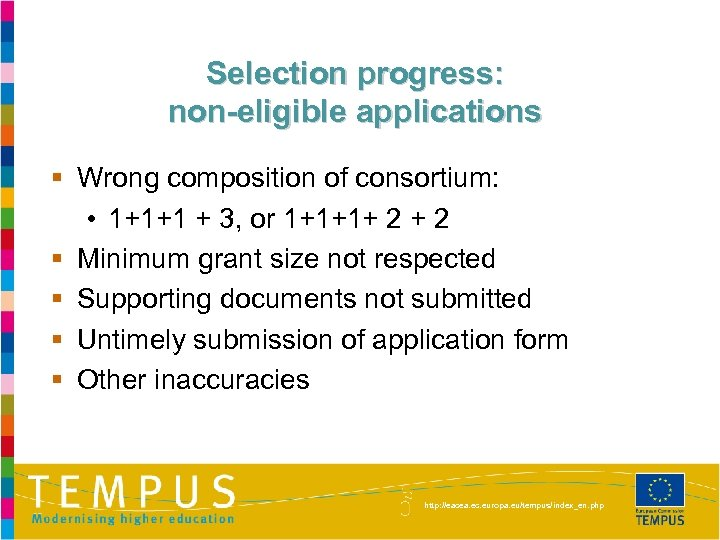 Selection progress: non-eligible applications § Wrong composition of consortium: • 1+1+1 + 3, or