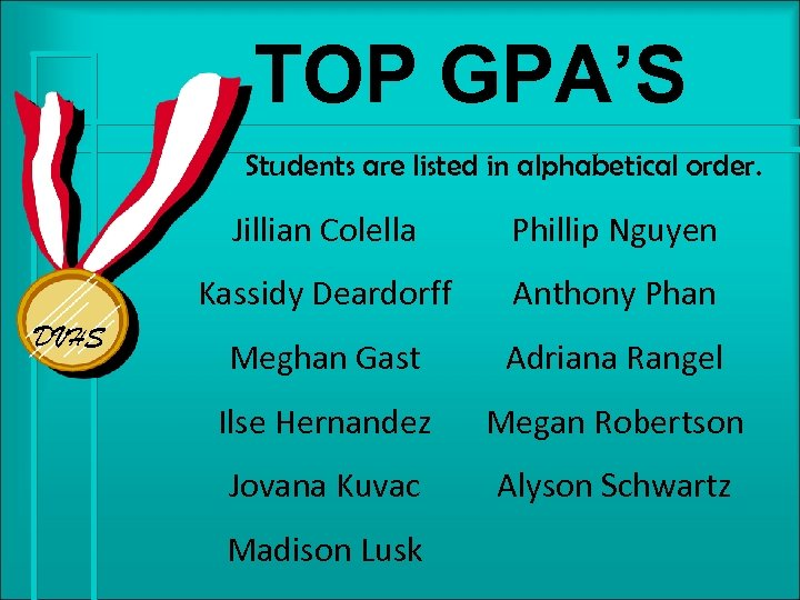 TOP GPA'S Students are listed in alphabetical order. Jillian Colella Kassidy Deardorff DVHS Phillip
