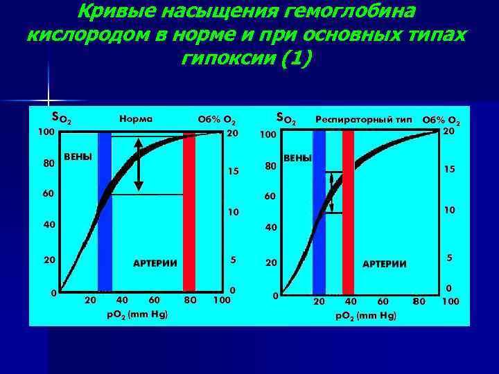 Кривые насыщения гемоглобина кислородом в норме и при основных типах гипоксии (1)