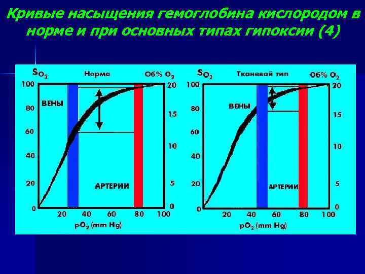 Кривые насыщения гемоглобина кислородом в норме и при основных типах гипоксии (4)