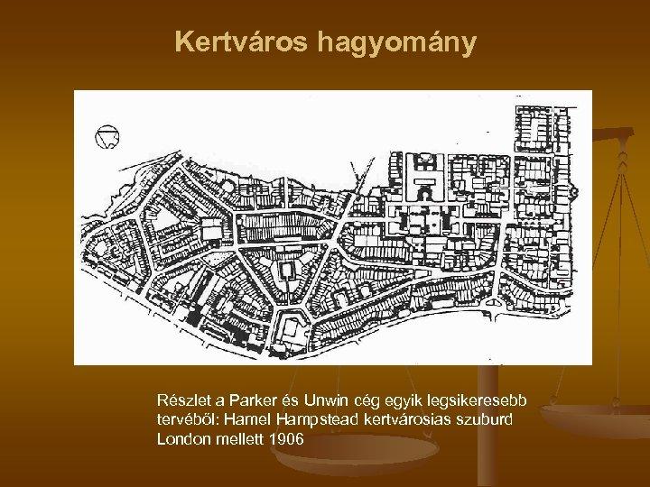 Kertváros hagyomány Részlet a Parker és Unwin cég egyik legsikeresebb tervéből: Hamel Hampstead kertvárosias