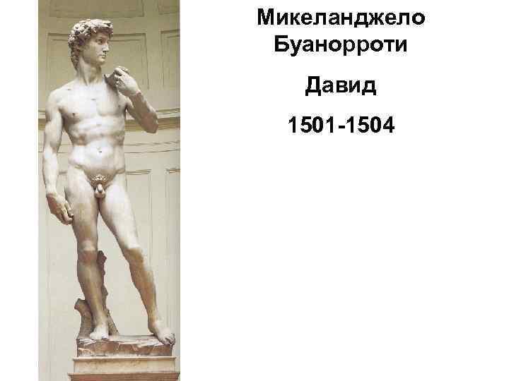 Микеланджело Буанорроти Давид 1501 -1504