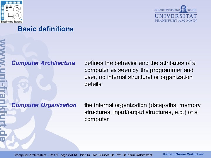 Basic definitions Computer Architecture defines the behavior and the attributes of a computer as