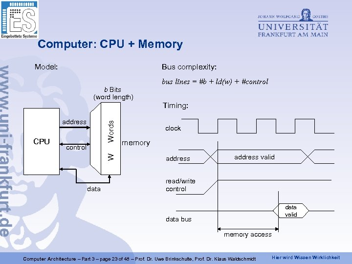 Computer: CPU + Memory Model: Bus complexity: b Bits (word length) bus lines =