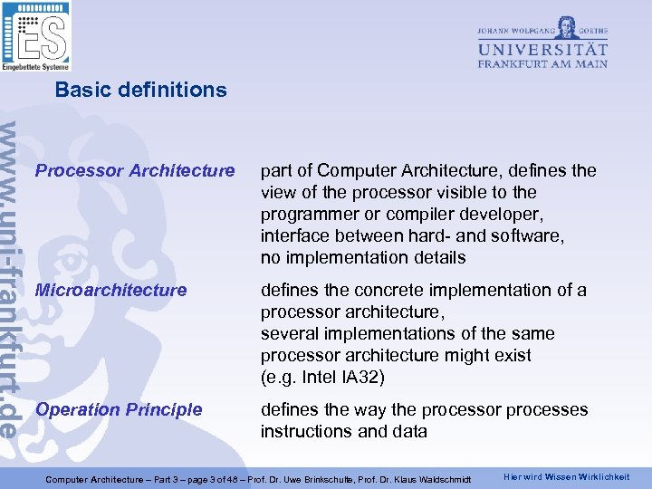 Basic definitions Processor Architecture part of Computer Architecture, defines the view of the processor