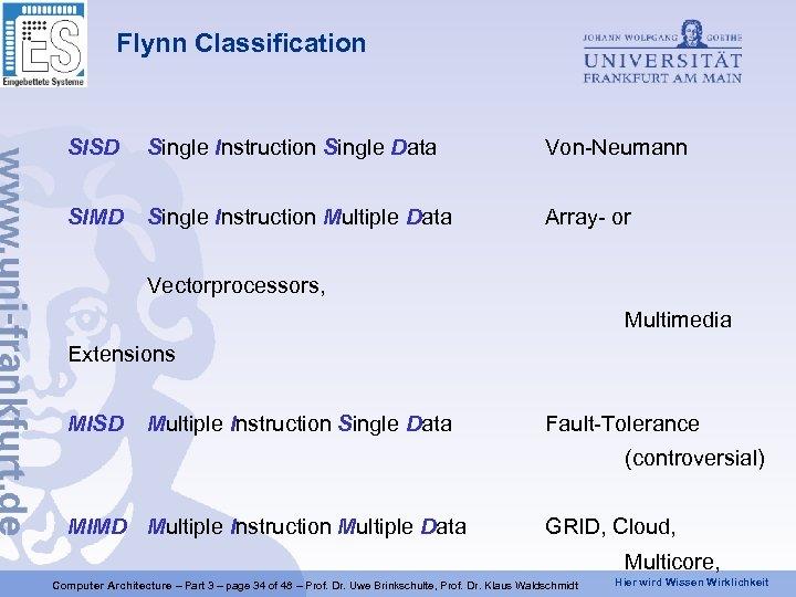 Flynn Classification SISD Single Instruction Single Data Von-Neumann SIMD Single Instruction Multiple Data Array-