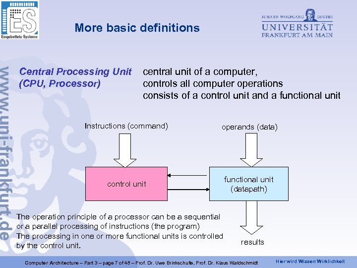 More basic definitions Central Processing Unit (CPU, Processor) central unit of a computer, controls