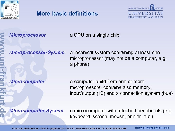 More basic definitions Microprocessor a CPU on a single chip Microprocessor-System a technical system