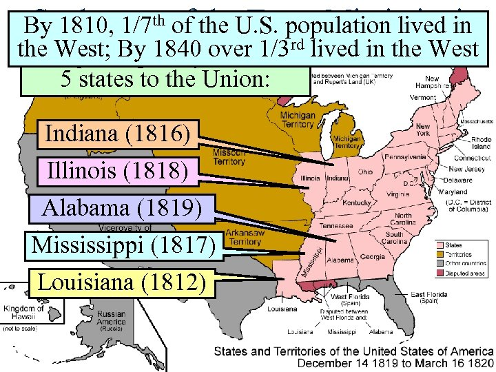 Settlement of the Trans-Mississippi By 1810, 1/7 th of the U. S. population lived