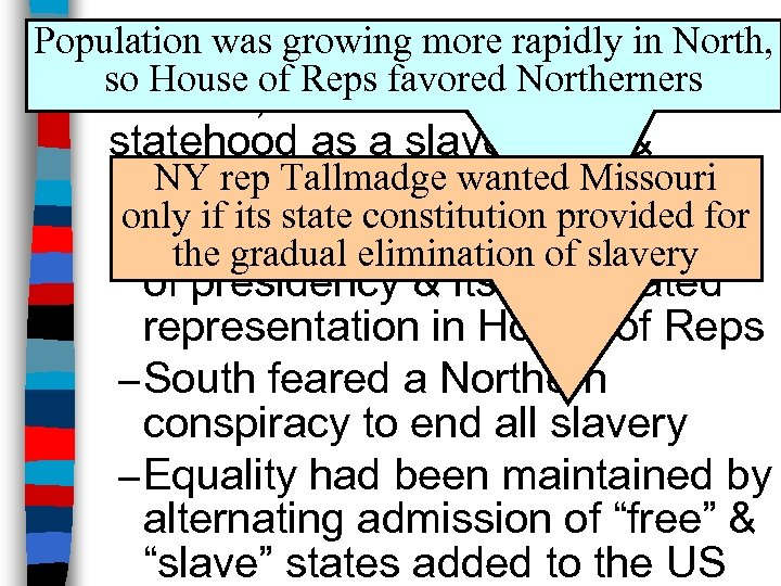 Population was growing more rapidly in North, Missouri Compromise so House of Reps favored