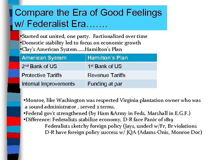Compare the Era of Good Feelings w/ Federalist Era……. • Started out united, one