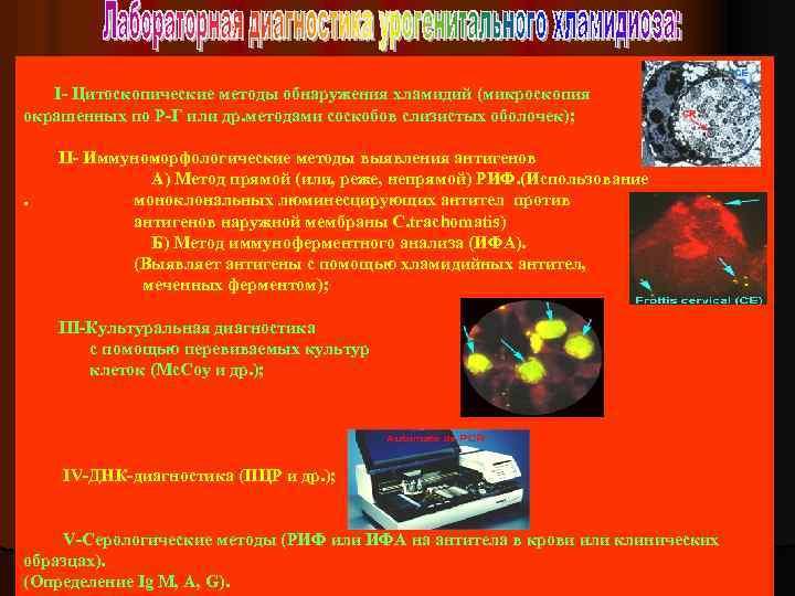 I- Цитоскопические методы обнаружения хламидий (микроскопия окрашенных по Р-Г или др. методами соскобов слизистых