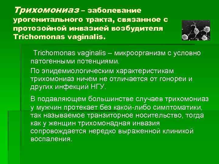 Трихомониаз – заболевание урогенитального тракта, связанное с протозойной инвазией возбудителя Trichomonas vaginalis – микроорганизм